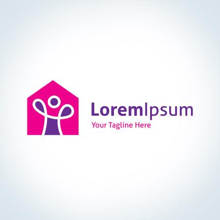 logotipo de construccion: Casa Feliz inmobiliaria constructora construcción logo vector icono