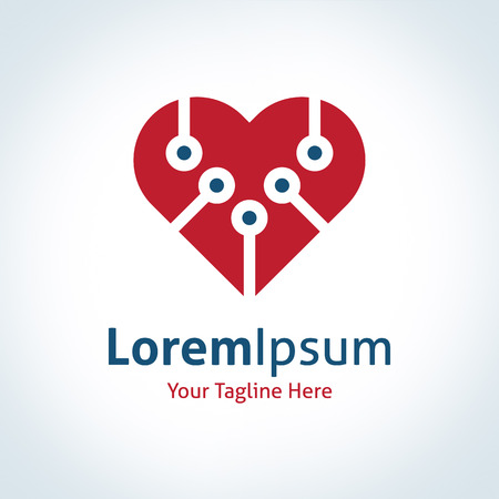 integrer: Les nouvelles technologies int�grer rouge en forme de coeur vecteur logo ic�ne