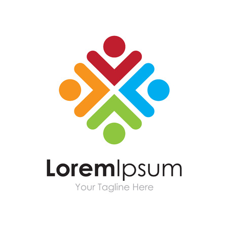 Partnership community colorful union icon simple elements