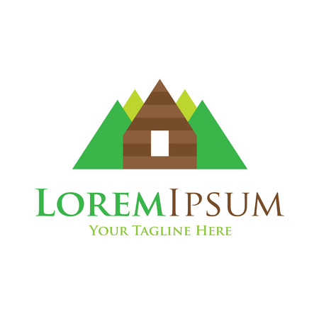 log: Mountain high home icon simple elements wilderness