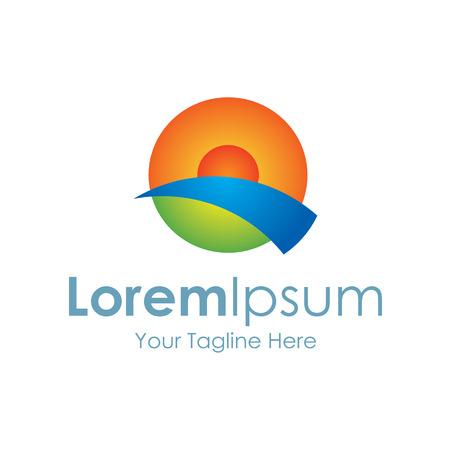 logotipo turismo: Perfecto icono amarillo ocaso elementos simples