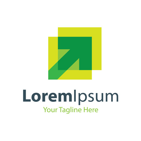 Green arrow overlap icon simple elements