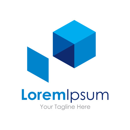 simple store: Extend your idea blue box icon simple elements logo