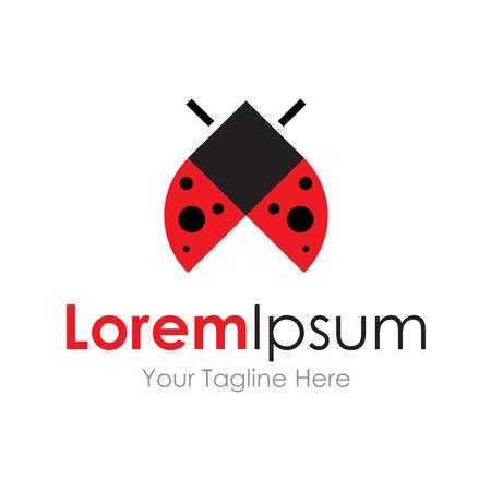 lady beetle: Beautiful red ladybug flight icon simple elements logo Illustration