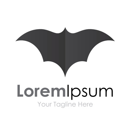 bat: Grey bat open wings flying concept elements icon  Illustration