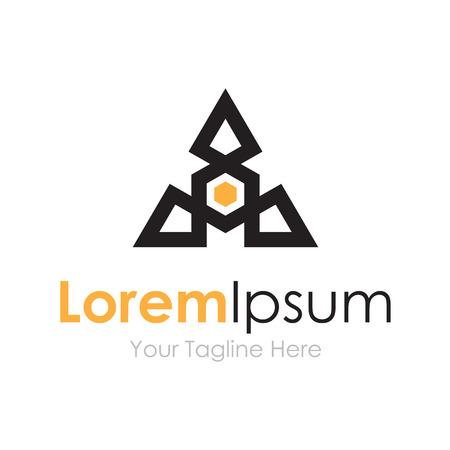 logo marketing: Triangle shape dron technology concept elements icon