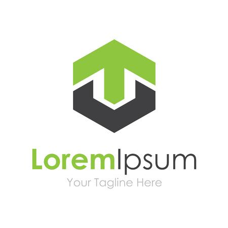 strong base: Forte base verde freccia su crescere elementi concetto icona logo Vettoriali