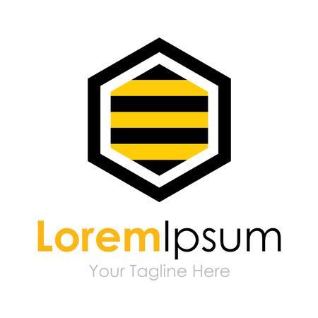 Yellow black bee hexagon shape concept elements icon Фото со стока - 34385753