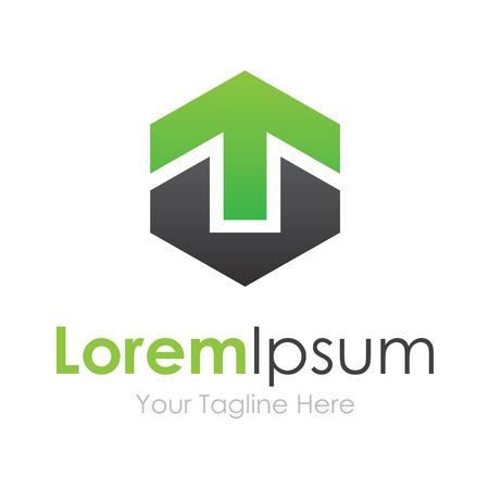 strong base: Forte base verde freccia su crescere elementi concetto icona