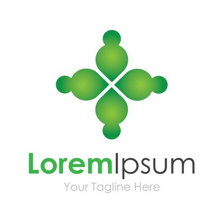 network logo: Green 4 concept partnership elements icon logo