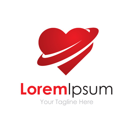 Love world red heart shape emotion business element icon logo