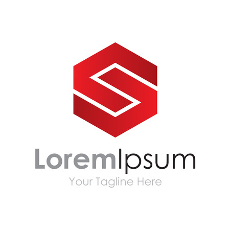 S strong capital red letter business element icon  Illustration