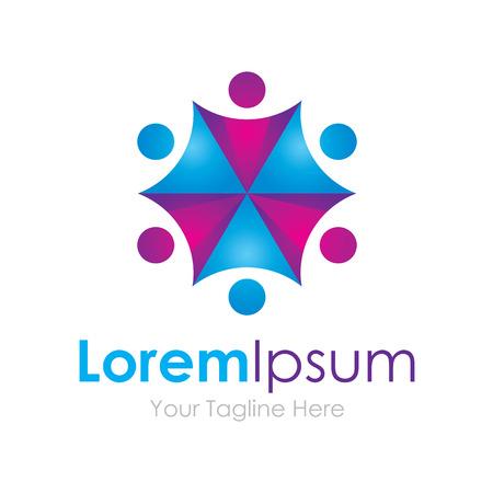umbrella: Umbrella effect purple blue partnership team element icons business