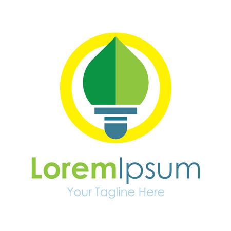green light bulb: Green light bulb leaf idea element icons business