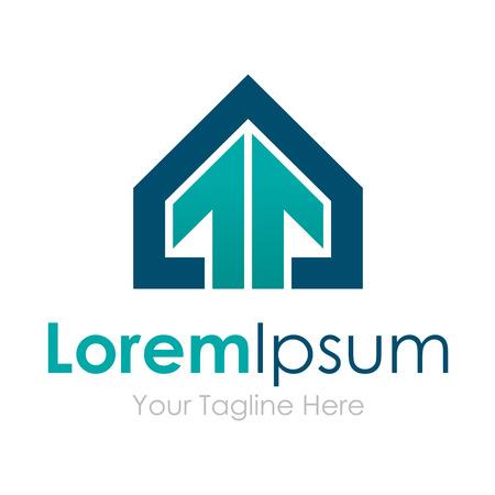 logo batiment: Maison gagne professionnelle �l�gante fl�che des ic�nes d'�l�ments entreprise