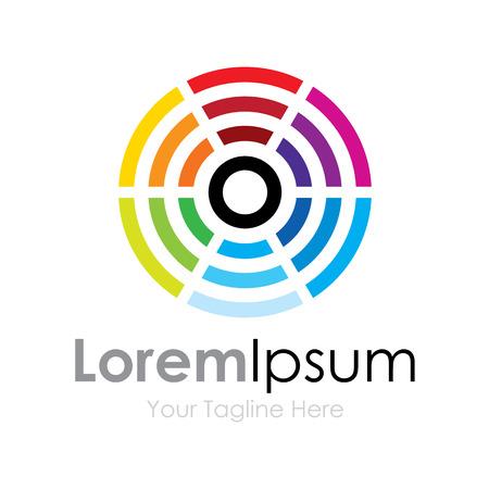 Center rainbow color circles element icons business Vectores