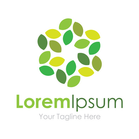 hojas de arbol: Verde pavimentada deja de negocios iconos eco elemento flor