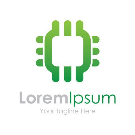integrer: Puce verte int�grer �l�ment ic�nes de technologie entreprise Illustration