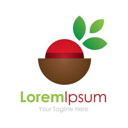 logo de comida: Saludable dieta fruta elemento taz�n ic�nico logo para los negocios
