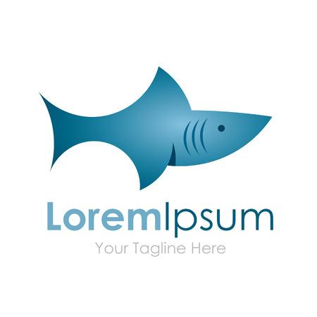 bull shark: Shark fish swimming DANGER element icon for business Illustration