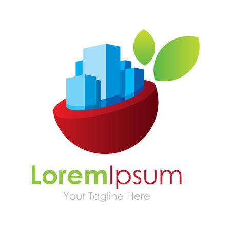 logotipo de construccion: Scape horizonte de la ciudad en colaboración con el verde de la naturaleza elemento icónico logo para los negocios