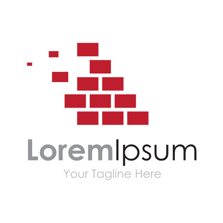 stone mason: Brick wall red masonry strong element icon for business