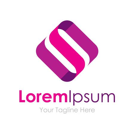 S letter silky purple material graphic design icon