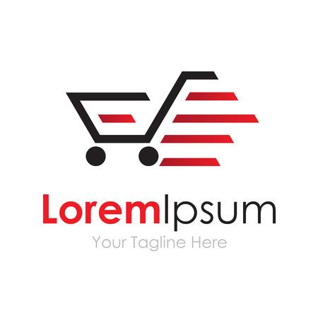 Speeding red shopping cart graphic design  icon