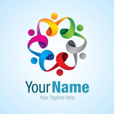 Krásné barevné handholding květina 3D kružnice grafický design logo ikona
