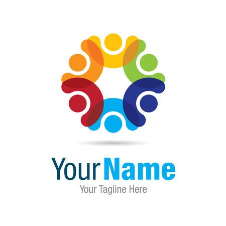 Happy colorful circle social graphic design icon
