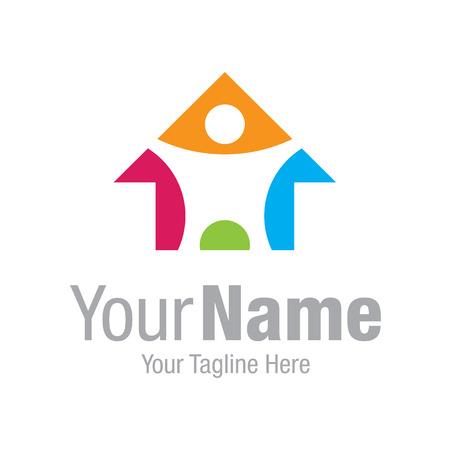 Kleurrijke fantasievolle huis restauratie grafisch ontwerp logo pictogram