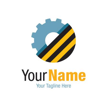 logotipo de construccion: Industria del trabajo de construcción sencilla rueda dentada icono empresarial logo