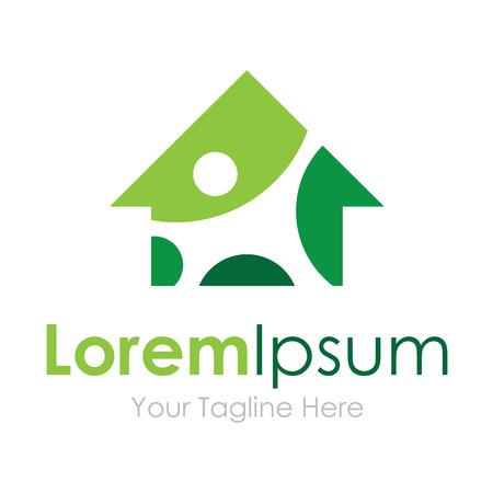 Casa verde de eficiencia inmobiliaria sencillo icono empresarial
