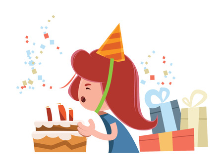 growing up: Happy birthday young girl vector illustration cartoon character