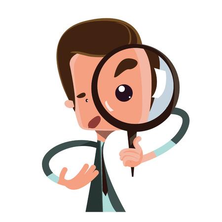 Man holding magnifying glass vector illustration cartoon character