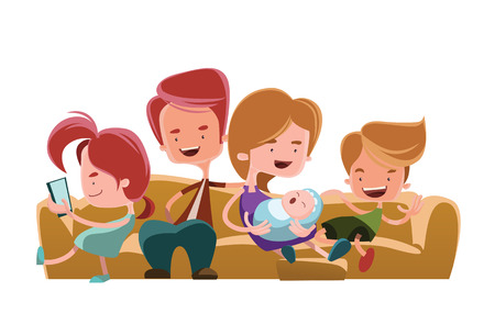 Family sitting on couch sofa vector illustration cartoon character