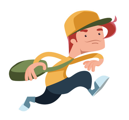 rn: Boy running with a bag vector illustration cartoon character Illustration