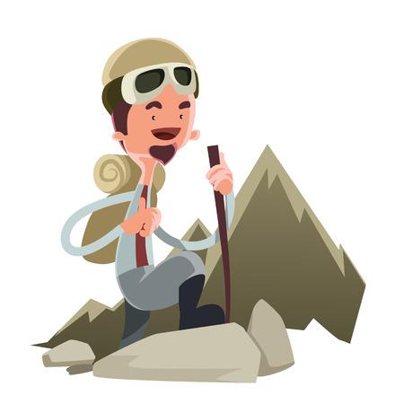 Hombre que va a subir a un personaje de dibujos animados vector de montaña Foto de archivo - 36895199