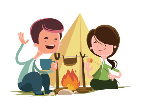 friends together: Friends next to camping fire vector illustration cartoon character Illustration