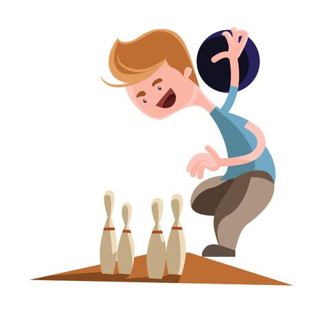 bolos: Hombre que juega a los bolos car�cter ilustraci�n vectorial de dibujos animados