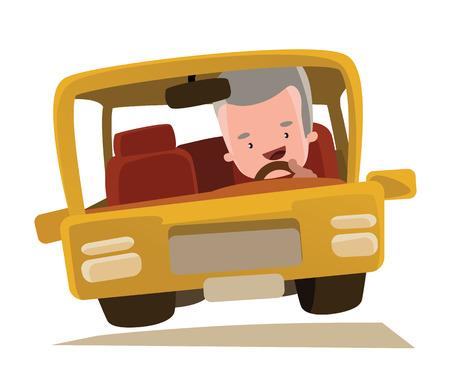 hombre conduciendo: Abuelo conducir un personaje de dibujos animados del vector del coche