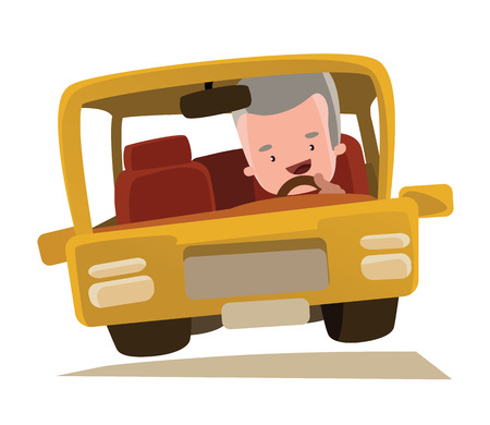 old people smiling: Grandpa driving a car vector illustration cartoon character