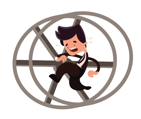 Businessman running in a loop vector illustration cartoon character