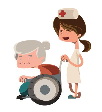Nurse helping old granny vector illustration cartoon character Vector
