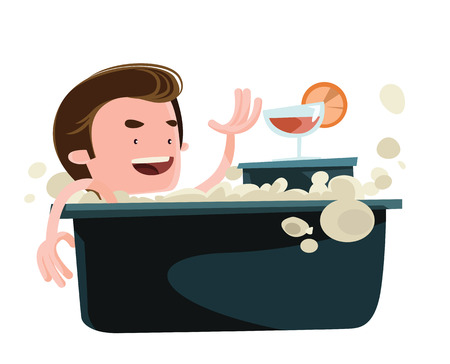 Man taking a bath enjoying vector illustration cartoon character