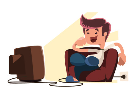 watching movie: Man watching television vector illustration cartoon character Illustration