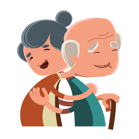 old couple walking: Old couple hugging vector illustration cartoon character