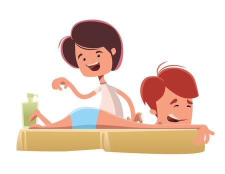 Man enjoying a massage treatmant vector illustration cartoon character