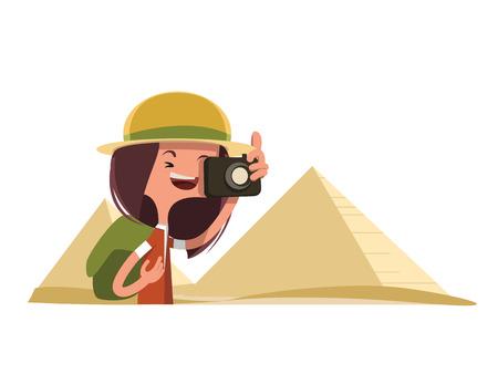 esfinge: Turismo en Egipto tomando fotos carácter ilustración vectorial de dibujos animados