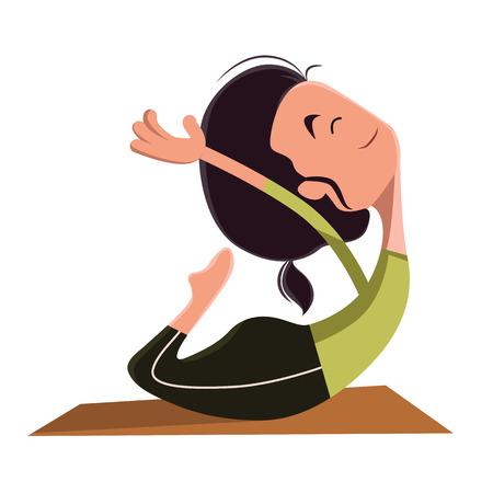 Woman doing yoga vector illustration cartoon character